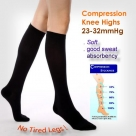 (Microfiber) 23-32mmHg Sweat Wicking Compression Knee High Stockings